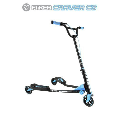 y-volution-y-fliker-carver-c3-scooter-matte-black-with-blue-pads-by-toys-r-us