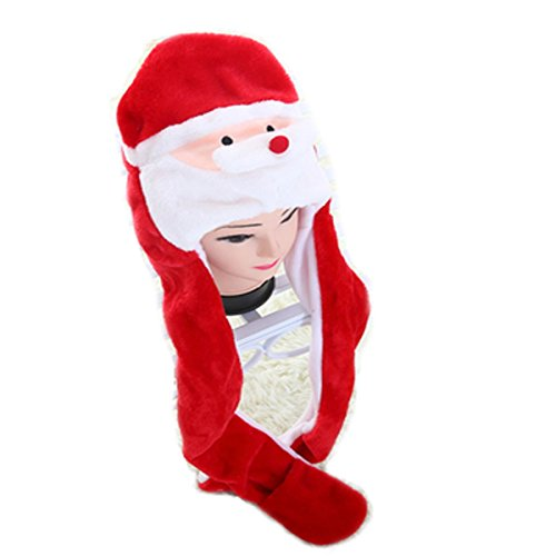 [Funnie 21 Novelty Animal HAT Cosplay CAP - Unisex Fit Adult & Children- Soft Warm Headwraps Headwear with Mittens (Santa] (Cow Head Hat Adult)