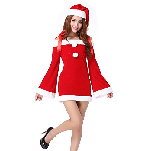 b4a7ce204197e (click photo to check price). 1. TEMPT Womens Sexy Christmas Costumes Off  Shoulder Lingerie Dress Holiday Santa Claus ...