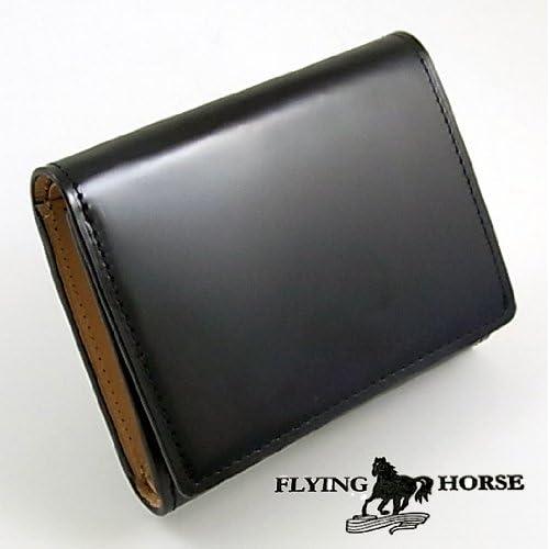 高品質コードバン三つ折財布【FLYING HORSE】馬革メンズコンパクト財布(黒)[ブラック]フォーマル・ビジネス
