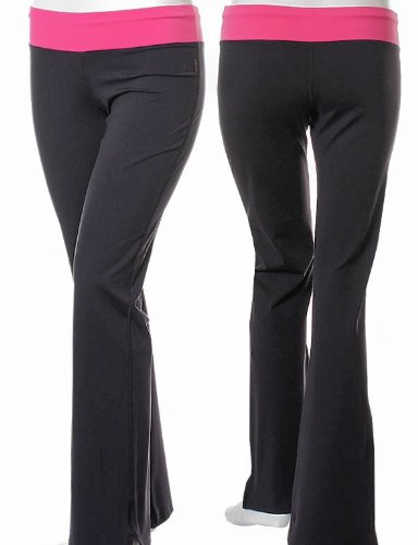 Yoga Pants with Contrast Color Fold Over Waistband & Flared Leg