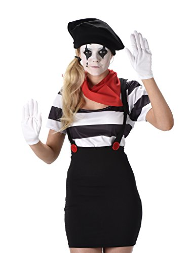 [Women's Mime Costume - Halloween (M)] (Scary Mime)