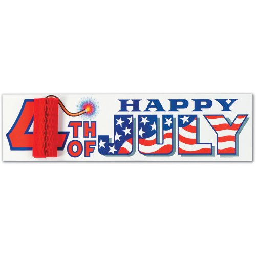 Beistle - 55276 - Happy 4th Of July Sign with Tissue Firecracker- Pack of 12 - 1