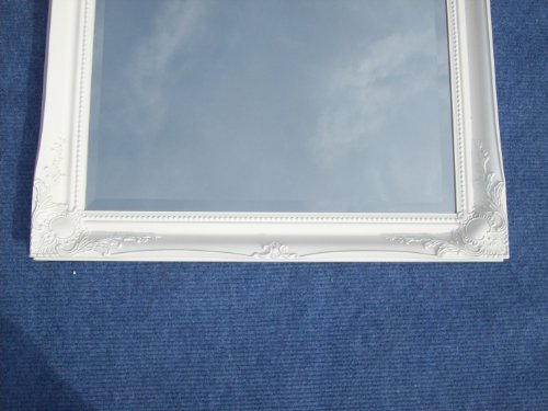 FULL LENGTH WHITE Dressing / Hall Mirror complete with Premium Quality Pilkington's Glass - Size: 49 inches x 16 inches (124cm x 40cm)