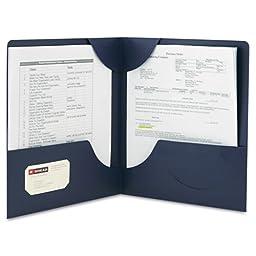 Smead Lockit® Two-Pocket File Folder, Letter, Dark Blue, 25ct