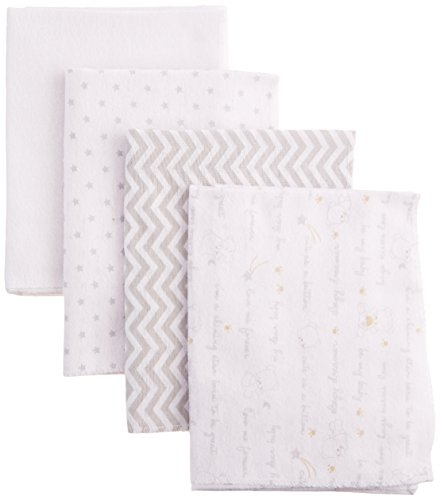 Nuby 100% Cotton 4 Piece Cuddly Soft Baby Receiving Blanket Set, White, 28