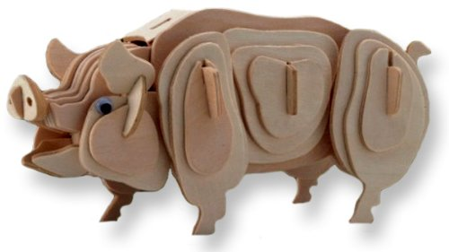 3-D Wooden Puzzle - Small Pig -Affordable Gift for your Little One! Item #DCHI-WPZ-M012A