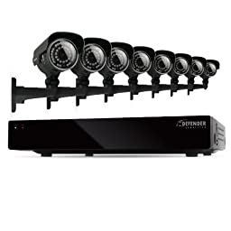 Defender Connected 8CH H.265 500GB Smart Security DVR with 8 x 600TVL IR Cut Filter 100ft Night Vision Indoor/Outdoor Cameras - 21025
