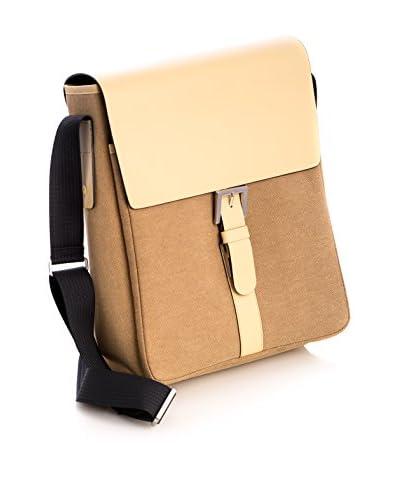 Bey-Berk Leather & Fabric Messenger Bag, Ivory/Khaki