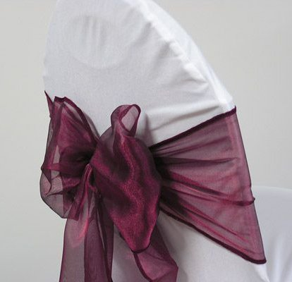 MDS 10 Organza Chair Cover Bow Sash Wedding Banquet Decor -Wine