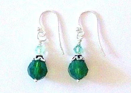 Green Swarovski Dangle Earrings by SilverChicks