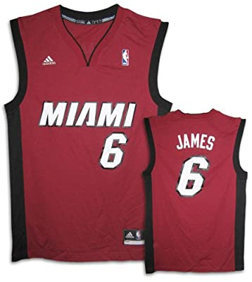 LeBron James Miami Heat #6 Youth Revolution 30 Replica Adidas NBA Basketball Jersey (Alternate Red)