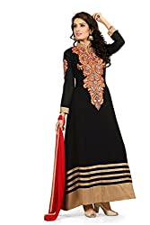 BanoRani Faux Georgette Black Color Semi Stitched Anarkali Gown Style Salwar Suit