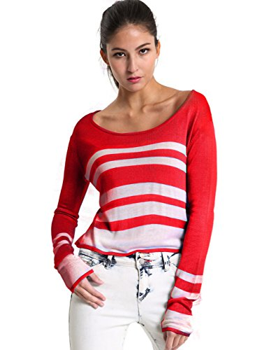 Mosocow Women's Stripe Crew Neck Long Sleeve Crop Tops Sweater Pullover Shirts S Red
