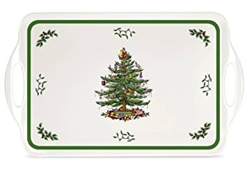 #!Cheap Spode Christmas Tree Melamine Serving Tray with Handles, 19-1/4-Inch