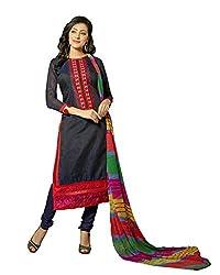 Suchi Fashion Embroidered Dark Blue Chanderi Dress Material