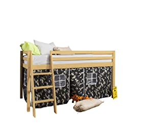Cabin Bed with Tent Army in Pine and Mattress 5758PINE-ARMY+MATTRESS