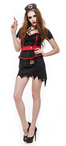 [Whatsofun Women's Blood Zombie Nurse Costumes/black (Medium)] (Zombie Nurse Costumes)