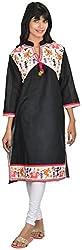 Goodyygoods Women's Cotton Regular Fit Kurti (GG 28, Black, X-Large)