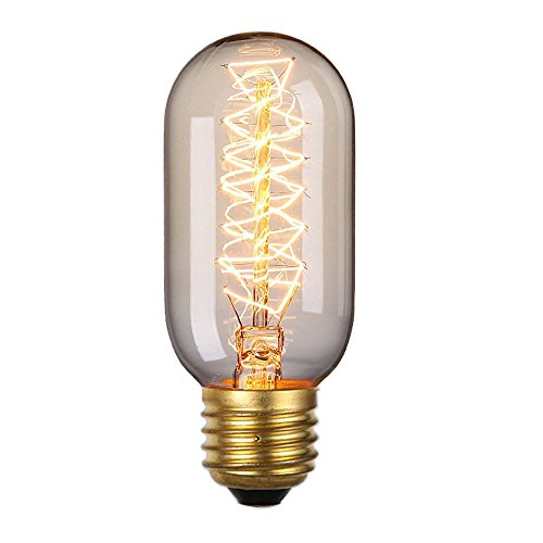 Rolay 25 Watt Clear Glass Edison Style Square Spiral Filament Repoduction Incandescent Light Bulb, 1 Pack