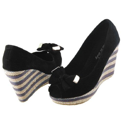 Women Bowtie Peep Toe Multicolor Weave Platform