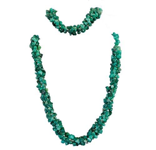 Green Adventurine Stone Chips Necklace & Bracelet Set