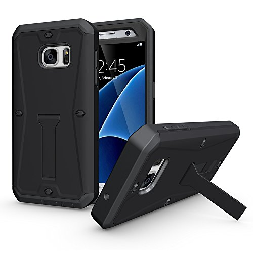 OnPrim Tank Armor Heavy Duty Series Flexible Rubber And Hard PC 3 In 1 Hybrid Defend Case Built-in Kickstand Holder For Samsung Galaxy S7 Edge 5.5 Inth Black