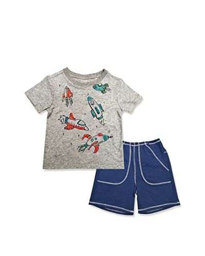 Charlie Rocket Kid's 2-Piece Space Rockets Top & French Terry Short Set