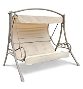 Seville 3 Seater Steel Swing Hammock Garden Patio Furniture Chair Kitchen Home