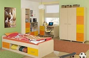 Kinderzimmer komplett mit Bett Kleiderschrank Schreibtisch Bücherregal und Kommode Set 1 ahorn gelb orange  SpielzeugKundenbewertung und weitere Informationen