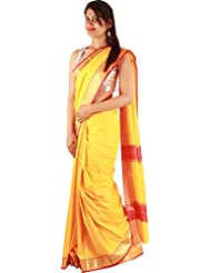 Beautiful Yellow Casual Saree Art Silk Plain Zari Work Designer Sari