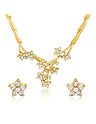 Oviya Gold Plated Aphrodite Rose Necklace Set With Crystals For Women NL2103194G