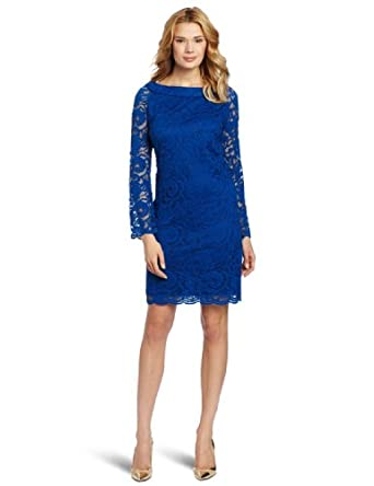 Julian Taylor Women's Lace Long Sleeve Sheath Dress, Royal, 14