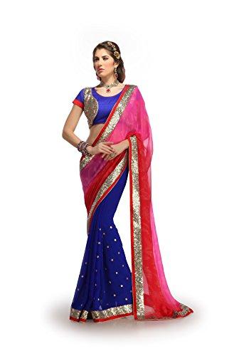 Shubhlaxmi Sarees Chiffon Saree(D608_Pink Blue.)