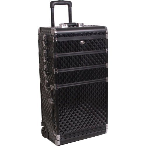 29 inch 4 in 1 Black Diamond Pattern Aluminum Professional Rolling Wheeled Cosmetic Organizer Makeup Artist Trolley Train Case