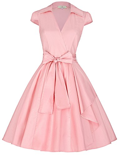 Womens Retro Pink Cap Sleeves Cocktail Party Dresses JS6087-5_S