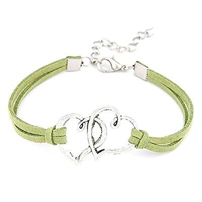 Lowpricenice Women Love Heart Handmade Alloy Rope Charm Jewelry Weave Bracelet