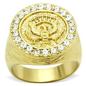 Isady - US Liberty Aigle - Men's Ring - 14ct Yellow Gold Plated - Cubic Zirconia - R 1/2