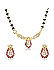 Mahi CZ Collection Gold Plated CZ Mangalsutra Earrings And Pendant Set For Women - NL1103516G