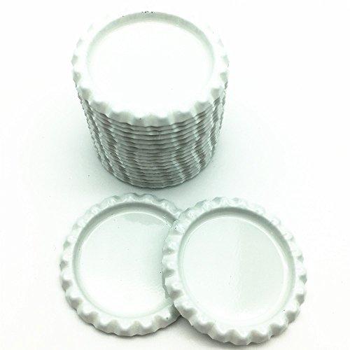 IGOGO Bottle Caps Decorative Bottle Cap for Hair Bows,DIY Pendants or Craft Scrapbooks White (Pack of 100)