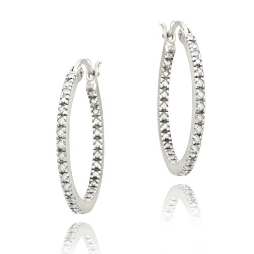 Sterling Silver 1/5ct Diamond Inside-Out 20mm Hoop Earrings