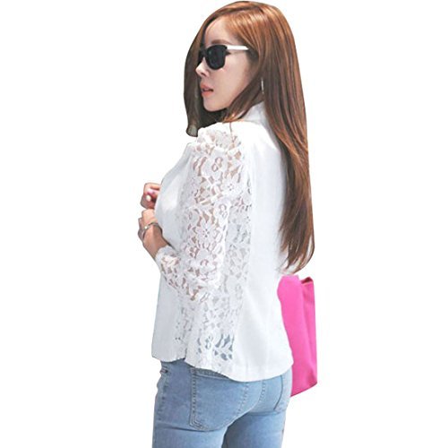 Bessky(Tm) 2014 New Design Long Sleeve Lace Crochet Blazer Jacket (M, White)