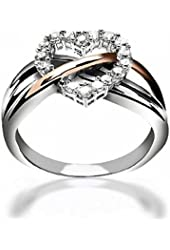 Valentine Gifts Sterling Silver Pave CZ Heart Ring Rose Gold Plated Accent