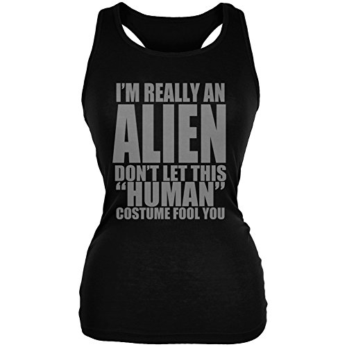 Halloween Human Alien Costume Black Juniors Soft Tank Top