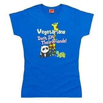 Goodie Two Sleeves Vegetarians Don't Eat Friends T Shirt, Damen, Königsblau, L
