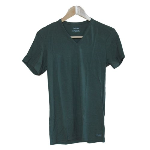 (カルバンクライン) Calvin Klein 半袖Tシャツ Micro Modal マイクロモダール Vネック メンズ 445563 【並行輸入品】 02.カモグリーン Mサイズ