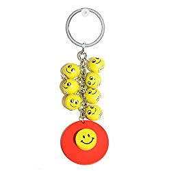 Key Chain Smiley Yellow Balls With7 Smiley yellow eco-friendly wooden yellow balls with key holder ring KeyChain Key holder by Tech Fashion-TF-1