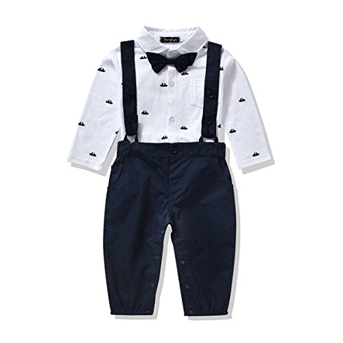 Ferenyi US Baby Boys Formal Party Wedding Tuxedo Jumpsuit Overalls Rompers (7-12 months, Navy blue)