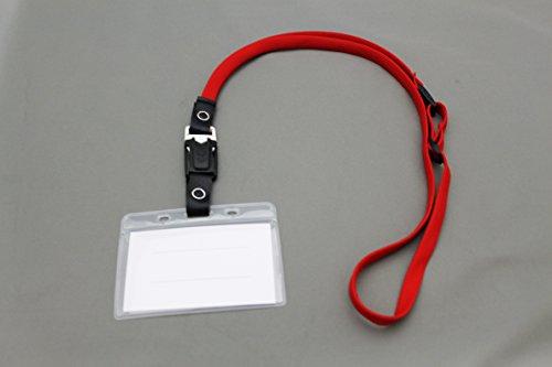 ホイッスルバックル付き名札ケース(ソフト) ホワイトバックル 赤 10枚セット