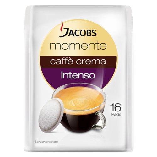 Jacobs Momente Kaffeepads Caffè Crema intenso, Kaffee, geeignet für alle Padmaschinen, 16 Pads